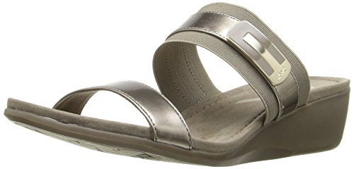 AK Anne Klein Sport Women's Catchme Synthetic Wedge Slide Sandal, Taupe, 8 M (Anne Klein Slides)