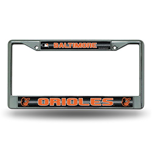 (Rico MLB Baltimore Orioles Bling License Plate Frame, Chrome, 12 x 6-Inch)