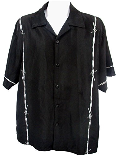 SAPPHIRE LOUNGE Men's Short Sleeve Casual Novelty Printed Button Down Woven Shirt (White Barbed Wire, Small)