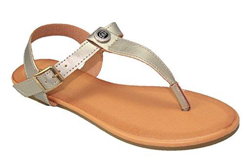 Cambridge Sélectionner Femmes T-strap Lanière Boucle Slingback Flat Sandal Gold Pu