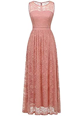 Wedtrend Women's Floral Lace Long Bridesmaid Dress Party Gown