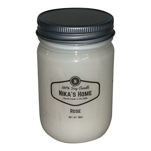 Nika's Home Rose Soy Candle - 12oz Mason Jar