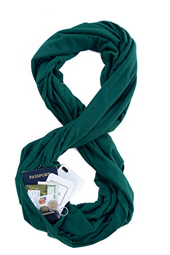 TRAVEL SCARF by WAYPOINT GOODS // Infinity Scarf with Hidden Pocket (Forest)