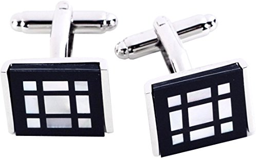 Rhodium Plated Cufflinks with Black Onyx and Mother of Pearl Square Design (Square Cufflinks Rhodium)