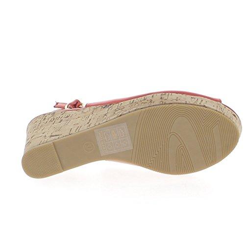 Sandales femme compensées rouges métallisées à talons de 10,5cm