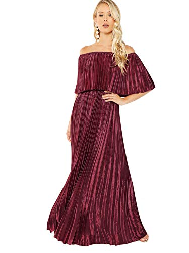 (Milumia Women's Foldover Front Off The Shoulder Layered Ruffle Party Maxi Dress Red-2 XS)