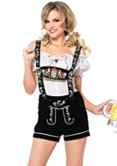 2 piece edelweiss lederhosen, includes embroidered stretch velveteen lederhosen with authentic bib suspenders and matching peasant top.