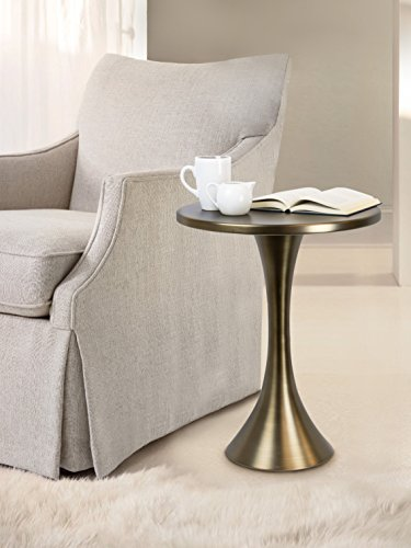 """Grandview Gallery Round Metal Matte Golden Bronze Side Accent Table 24"""" H x 19"""" D"""