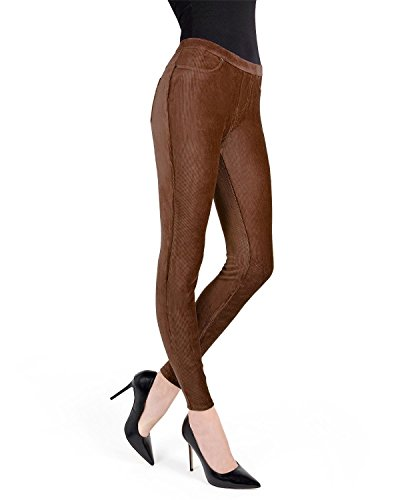 Cotton Rib Leggings - MeMoi Thin-Rib Stretch Corduroy Leggings | Women's Premium Leggings Java MQ 001 Large/X Large