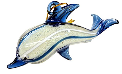 Beachcombers Glass Dolphin Ornament, Glows in the dark 04029 4 Inches (Ornaments Dolphin Glass)