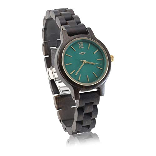 Angie Wood Creations Black Sandalwood Women's Watch with Emerald Green Dial from Angie Wood Creations