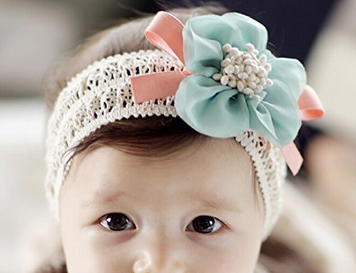 Blue Flower Hair Band XCSSKG Baby Soft Lace Infant Girls Headbands Lace Flower Hair Accessories Bow Hair Band