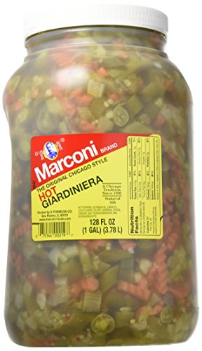 Marconi - The Original Chicago Style Hot Giardiniera - Gallon Plastic Jug (Relish Giardiniera)