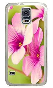Samsung Galaxy S5 Personalized custom cover Pink Flowers 01 PC Transparent Custom Samsung Galaxy S5 Case Cover