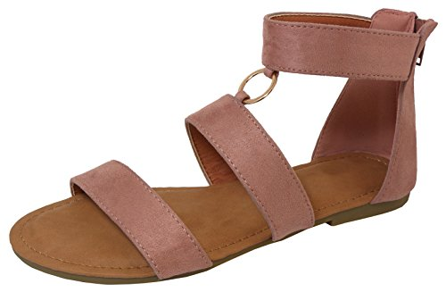 Cambridge Select Women's Open Toe Strappy O-Ring Back Zip Flat Sandal,10 B(M) US,Mauve IMSU