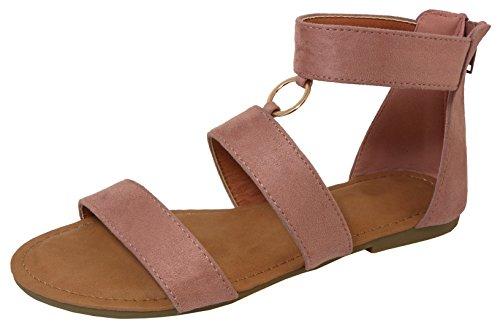 Cambridge Select Women's Open Toe Strappy O-Ring Back Zip Flat Sandal,10 B(M) US,Mauve IMSU