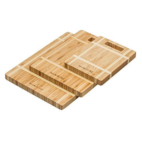 Hand Of The Chef - Thick Bamboo Cutting Boards - Set of 3 - Custom Made Bamboo Carving Boards With Handle - Wood Bamboo Chopping Boards - Serving Platter - Unique Design