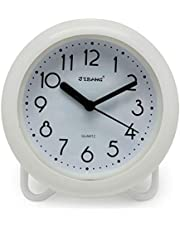 JIBANG Shower Clocks, Waterproof Clock, Bathroom Waterproof Clock, 7 Inches Silent Non-Ticking Prevent Mist Wall Clock, You can Also Hang a Towel (White)