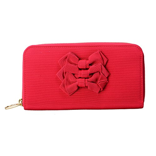 Red Valentino Women's Red Bow Decorated Clutch Wallet Womens Valentino Bow
