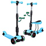 YOLEO Kick Scooters for Kids, 3 in 1 Kick Scooter with Removable Seat for Toddlers & Kids Girls & Boys, Adjustable Height PU Flashing Wheels for Children from 2 to 8 Year-Old, Blue