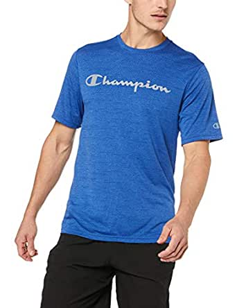 Champion Men's Double Dry Mesh Heather Script Tee, Surf The Web Heather, Small