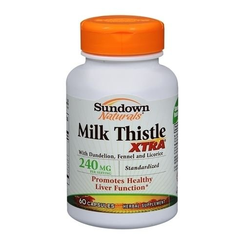 - Sundown Naturals Milk Thistle Xtra 240 mg Herbal Supplement Capsules 60 CP - Buy Packs and SAVE (Pack of 3)