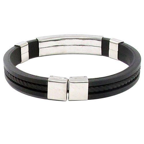 Ransopakul Men's Women's New Stainless Steel Rubber Wristband Bangle Clasp Cuff Bracelet