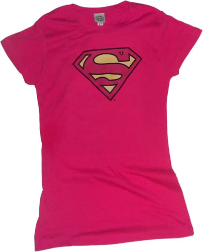 Superman -- Pinky Shield Crop Sleeve Fitted Juniors T-Shirt, (Hot Girl In Superman Shirt)