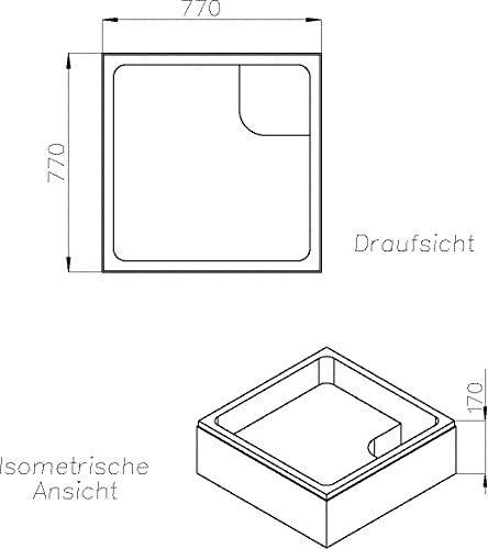 aquaSu/® Acryl Dusch Wanne soNo I 90 x 90 cm I Wei/ß I Duschwanne I Brausewanne I Bad I Badezimmer