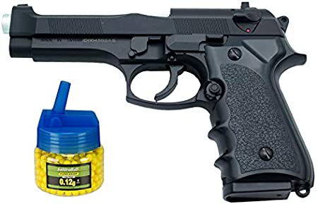 Tiendas LGP - Pistola HFC Tipo Beretta 92 - Negra - Pistola Muelle Pesada Calibre 6 mm - Energía 0.34 Julios - Velocidad de Disparo 70m/s - 246 FPS. + Biberón 500 Bolas 12 Gramos de 6 mm. de Regalo