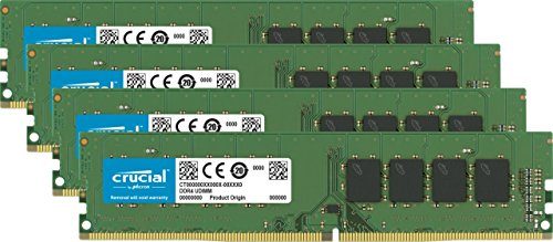 Low Profile Server Memory - Crucial 32GB Kit (8GBx4) DDR4 2133 MT/s (PC4-17000) DR x8 Unbuffered DIMM 288-Pin Memory - CT4K8G4DFD8213