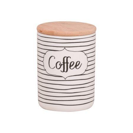 10 Strawberry Street Everyday Coffee, Sugar, Flour 3 Piece Porcelain Canister Set, White/Black by 10 Strawberry Street