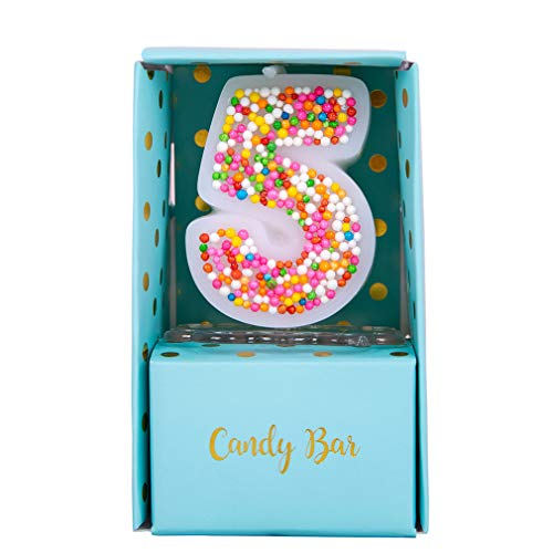 ILIKEPAR Sweety Colorful Candy Number Cake Topper Candle Brithday Party Baby Shower Wedding Party Supplies Favor (Five)