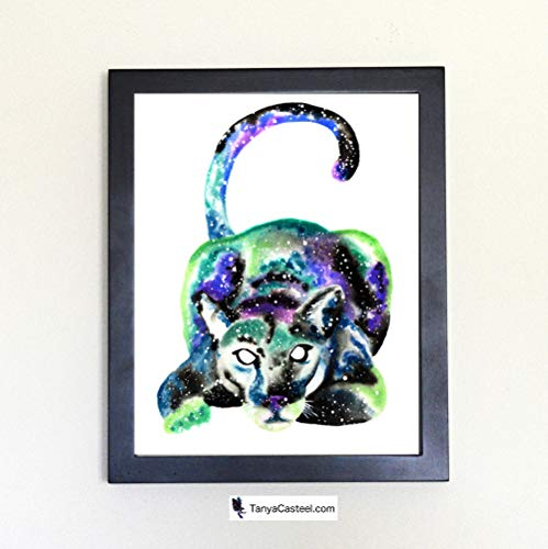 Galactic Puma Cougar Mountain Lion Cosmic Animal Art Print from Watercolor Painting
