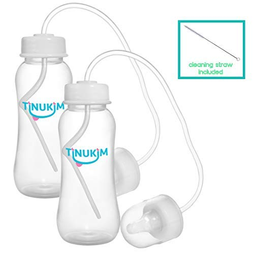 Tinukim Hands Free Baby Bottle - Anti-Colic Nursing System, 9 Ounce (Set of 2 - White)