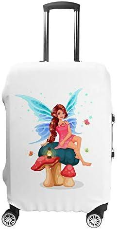 スーツケースカバー トラベルケース 荷物カバー 弾性素材 傷を防ぐ ほこりや汚れを防ぐ 個性 出張 男性と女性キノコの上に座っている小さな妖精