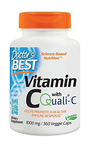 Doctor's Best Vitamin C with Quali-C 1000 mg, Non-GMO, Vegan, Gluten Free, Soy Free, Sourced From Scotland, 360 Veggie Caps