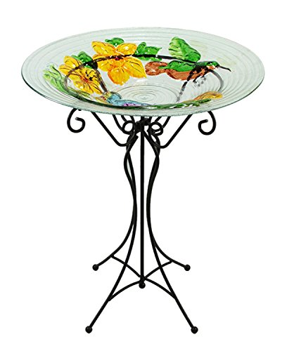 22.5'' Hand Painted Glass Vibrant Hummingbird & Flowers Outdoor Garden Bird Bath by CC Outdoor Living