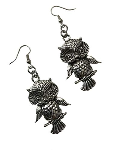 Large Pewter Antique Silver Tone Vintage Style Nickel Free Owl on Branch Earrings