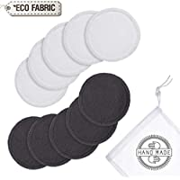 Reusable Bamboo Make up Remover Pads | Perfect for Facial, Eye, Nails & Baby Care | Washable Organic Pads with Laundry Bag | 10 Pads/Pack | Safe For Sensitive Skin Eco-Friendly/Zero Waste/Plastic Free