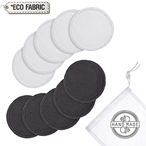 Almohadillas de bambú reutilizables para desmaquillar | Almohadillas orgánicas lavables con bolsa de lavandería | 10 almohadillas / paquete | Seguro para ...