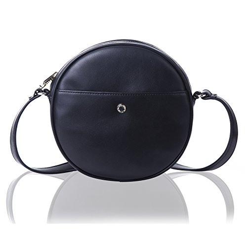 (The Lovely Tote Co. Women's Round Cross-Body Bag Circle Purse (One, Adjustable Strap Black))