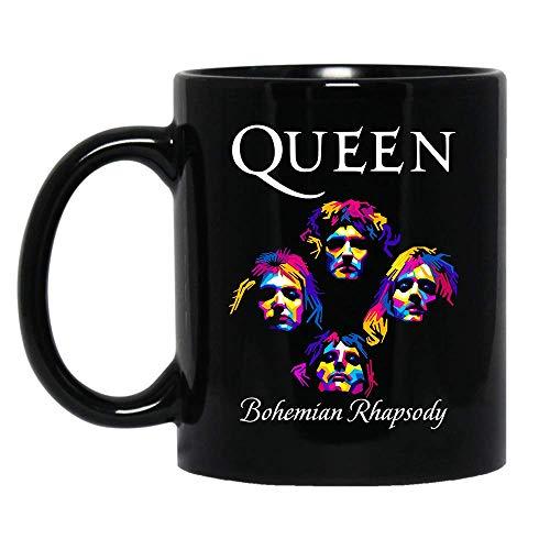 Queen Band Royal Crest Logo Shirt Gifts Men Women Boys Girls Tshirt Standard Coffee Mugs, Rock Band British Fan Lovers Mug - Premium Quality printed (Black, -