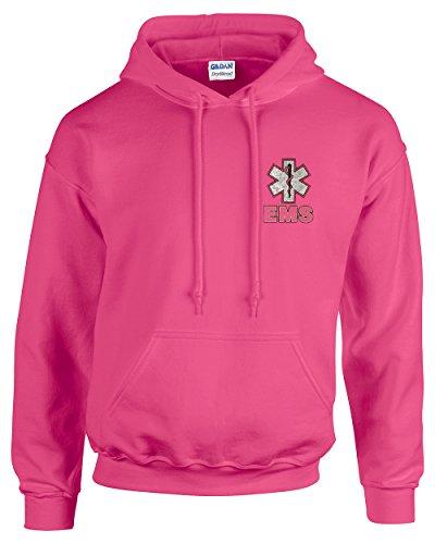 Fishers Sportswear EMS Metallic Silver Print Hooded Sweatshirt (Large, Safety Pink)