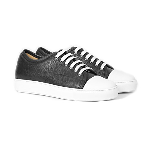 Sneakers Uomo in Pelle Blu Stringata di Colore Testa di Moro Scarpe Sportive Uomo Nero Sneakers Leather Blue Made in Italy