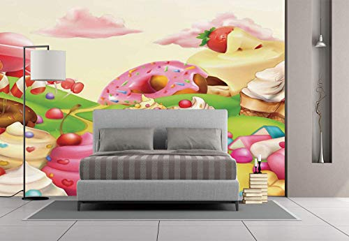 Funky Wall Mural Sticker [ Modern,Yummy Donuts Sweet Land Cupcakes Ice Cream Cotton Candy Clouds Kids Nursery Design,Multicolor ] Self-adhesive Vinyl Wallpaper / Removable Modern Decorating Wall Art]()