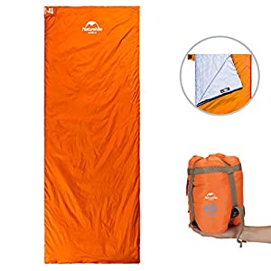 ieGeek Sleeping Bag, Lightweight Envelope Sleeping Bags with Compression Sack Portable Waterproof for 3 Season Travel Camping Hiking Backpacking Outdoor Activities,Ultra-Large for Kids/Adults(Orange)