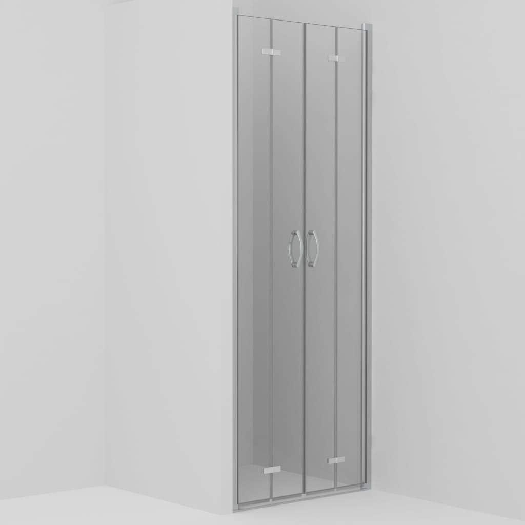 vidaXL Mampara Ducha Frontal 2 Puertas Plegables Cristal Seguridad Vidrio Templado ESG Aluminio Cabina Baño Transparente Cierre Plato Bañera 95x185 cm