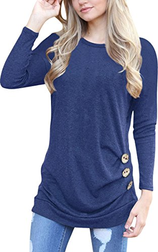 l Long Sleeve T-Shirts Buttons Decor Blouse Loose Tunic Tops,US XXL,Navy Blue (Maternity Top)