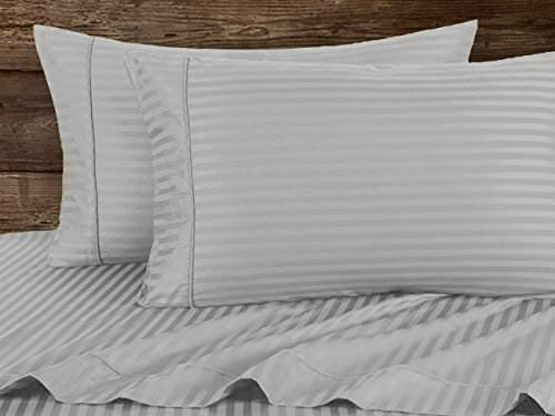 Rajlinen Split Head Sheets Set for Split at The top or Flex Head of The Mattress- Split 34″inches Down from The top King Size 400 TC 100% Cotton Light Grey Stripe